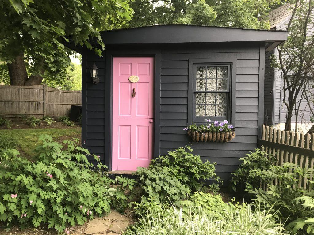 Pink Door in Garden